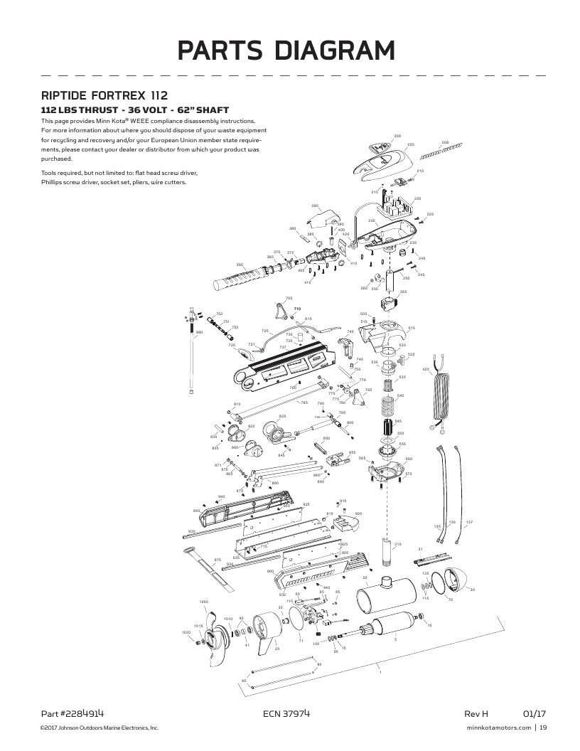 Minn Kota Riptide Fortrex 112 Parts-2018