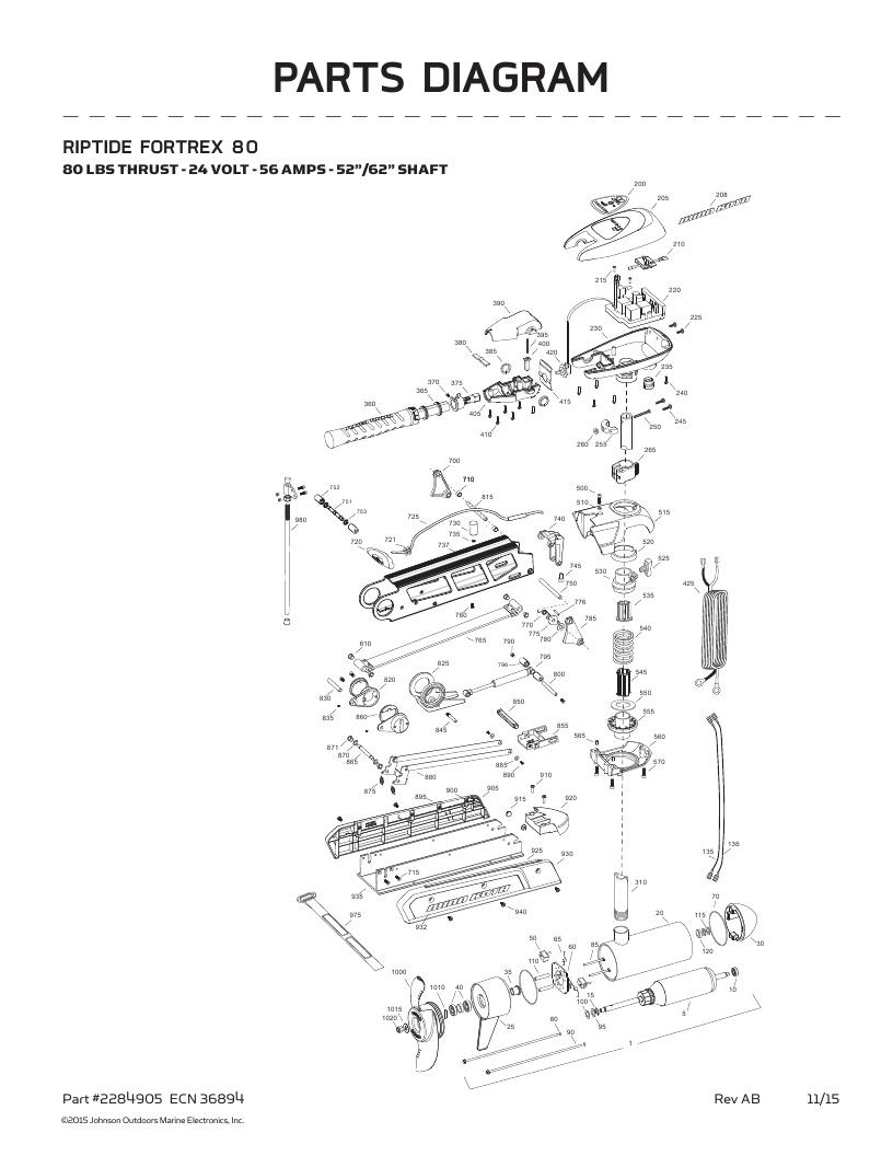 Minn Kota Riptide Fortrex 80 Parts-2016