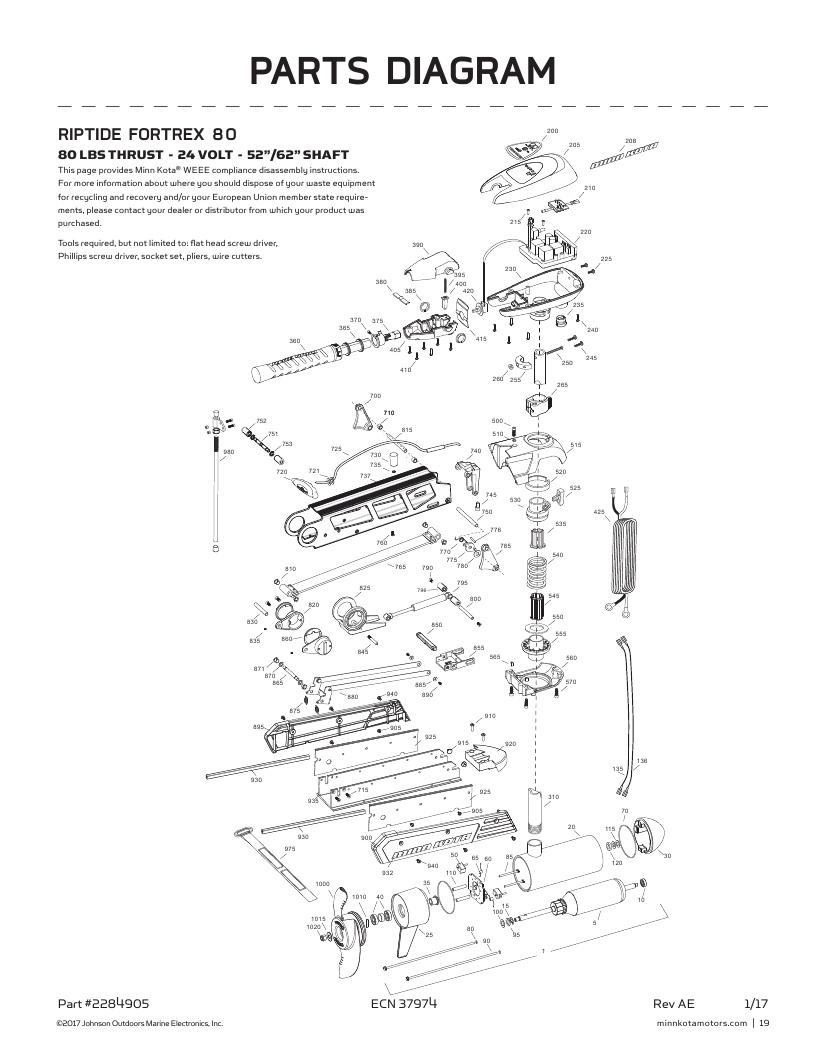 Minn Kota Riptide Fortrex 80 Parts-2018