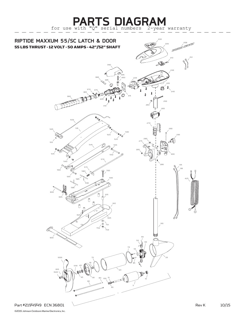 Minn Kota Riptide Maxxum 55 SC Parts-2016