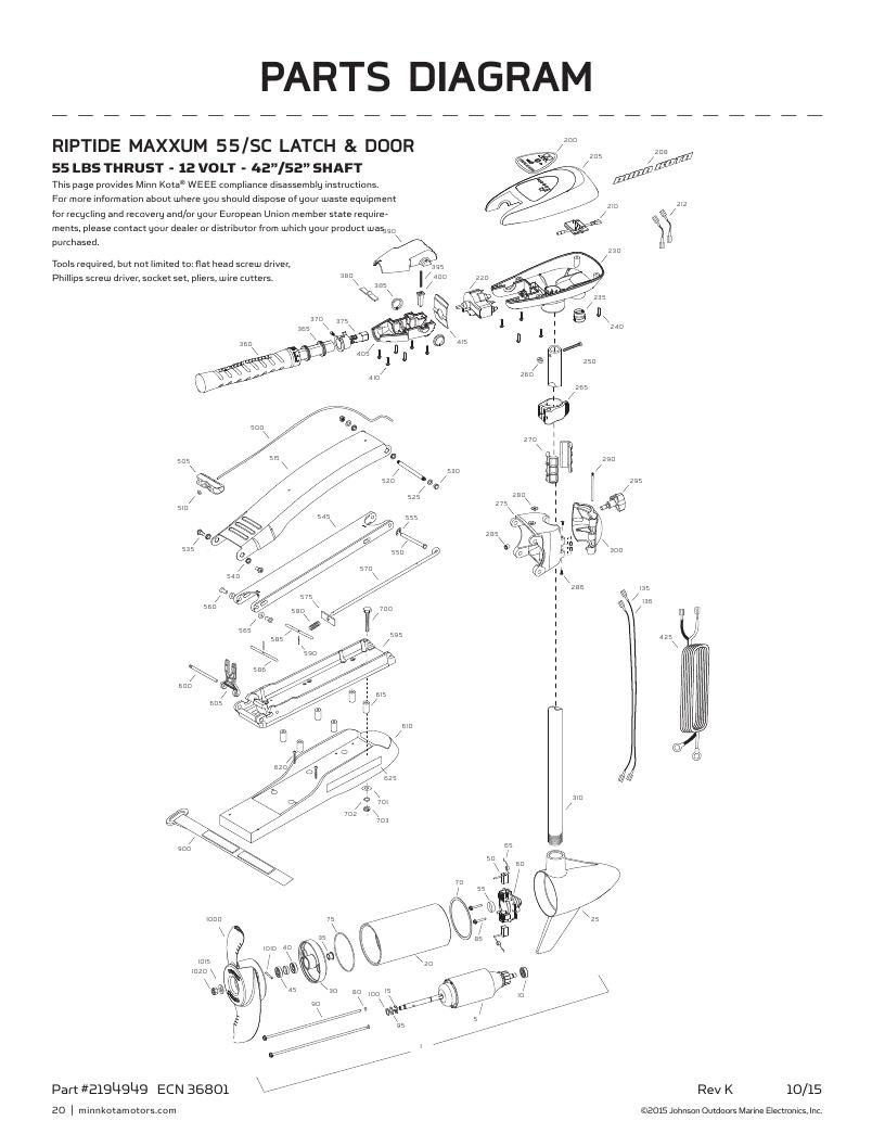 Minn Kota Riptide Maxxum 55 SC Parts-2018