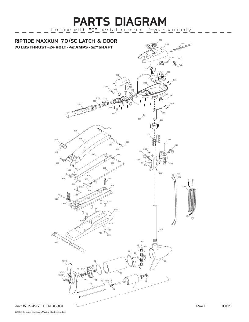 Minn Kota Riptide Maxxum 70 SC Parts-2016