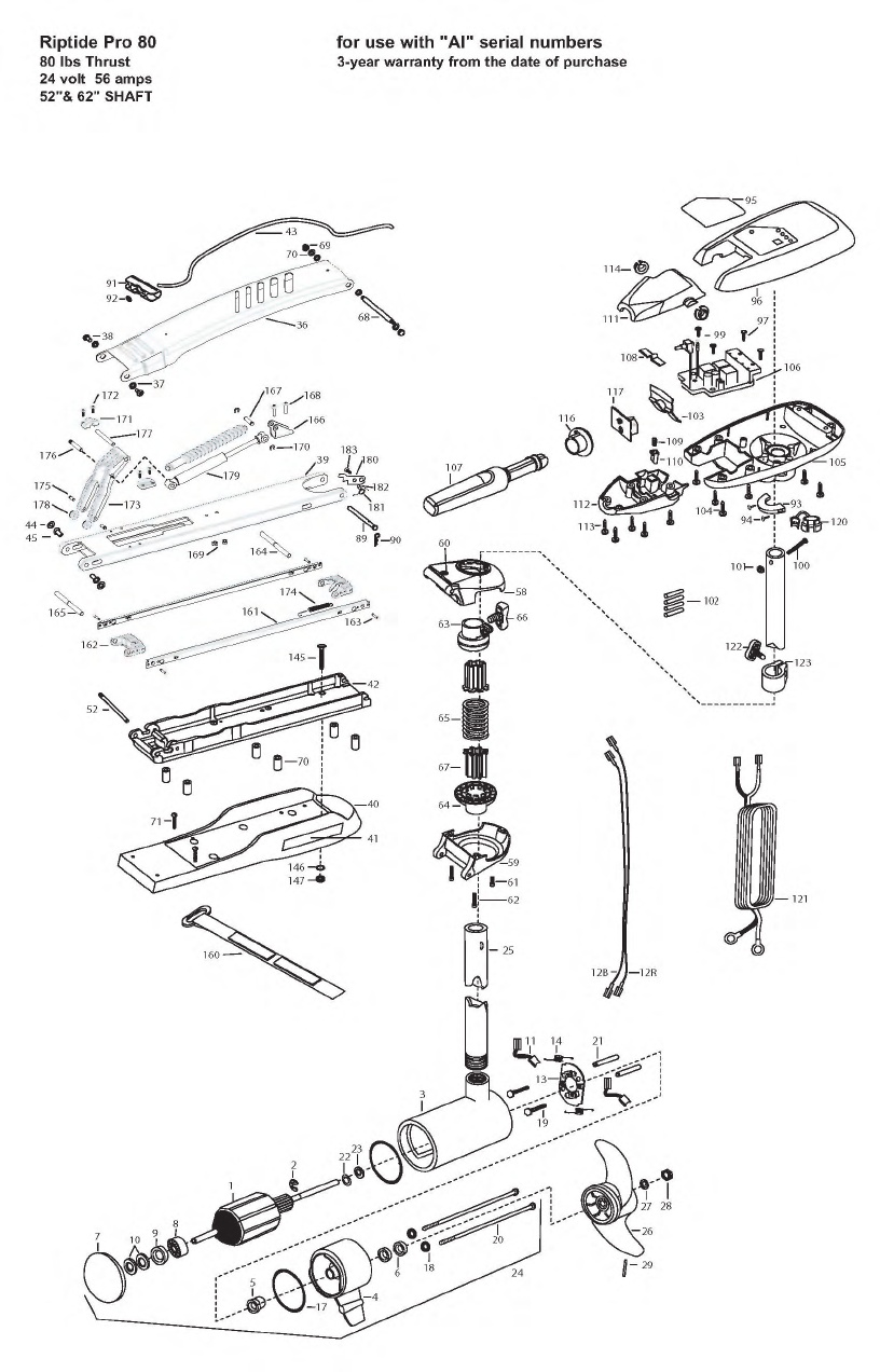 Minn Kota Riptide Pro 80 Parts - 2008