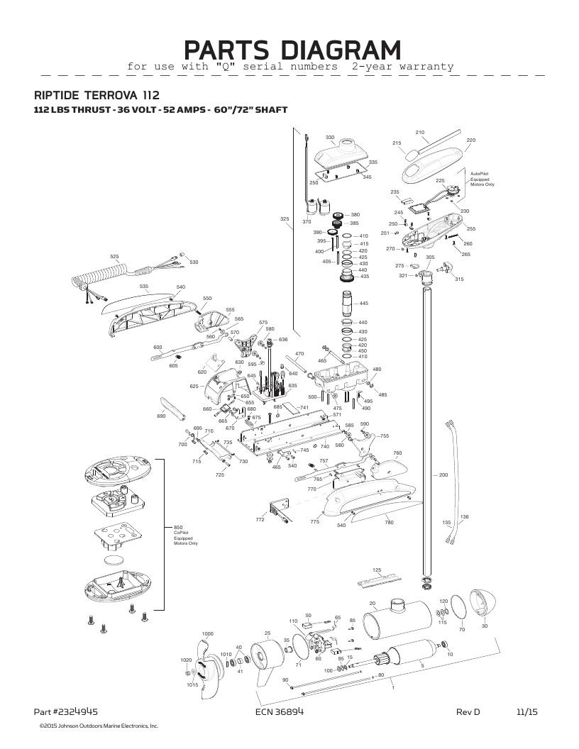 Minn Kota Riptide Terrova 112 Parts-2016