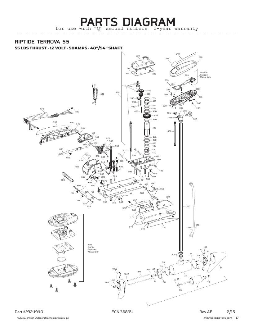 Minn Kota Riptide Terrova 55 Parts-2016