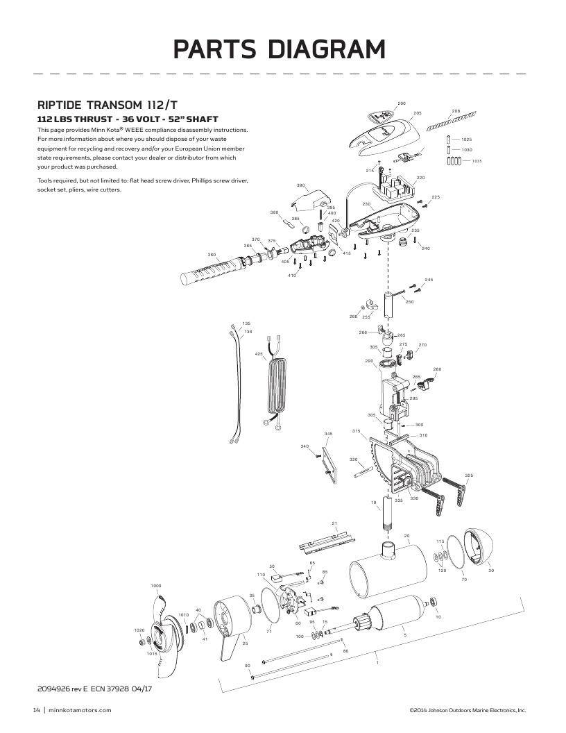 Minn Kota Riptide Transom 112 Parts-2018