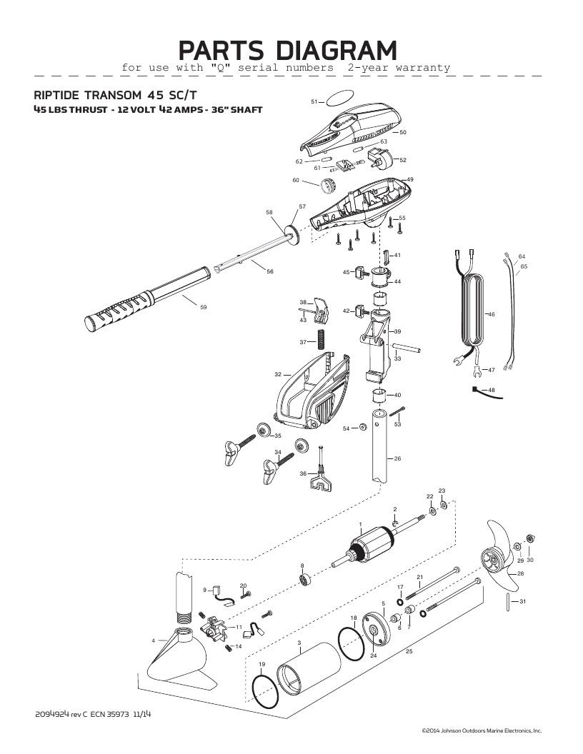 Minn Kota Riptide Transom 45 SC Parts-2016