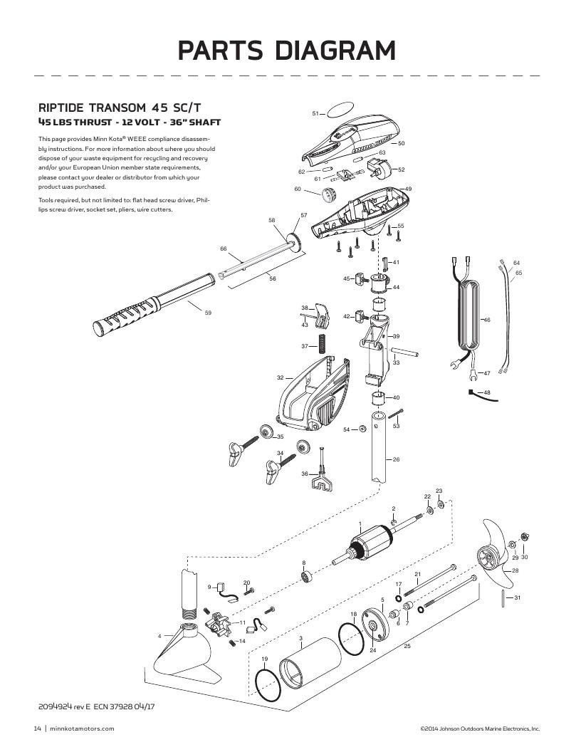 Minn Kota Riptide Transom 45 SC Parts-2018