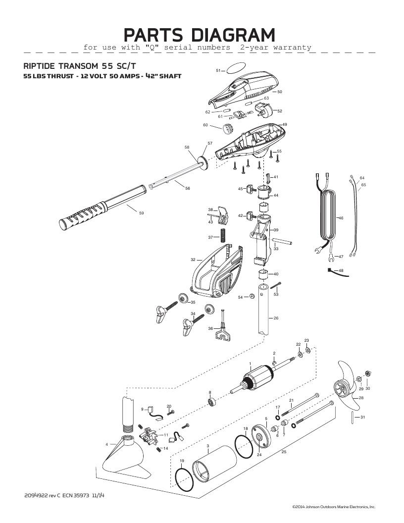 Minn Kota Riptide Transom 55 SC Parts-2016