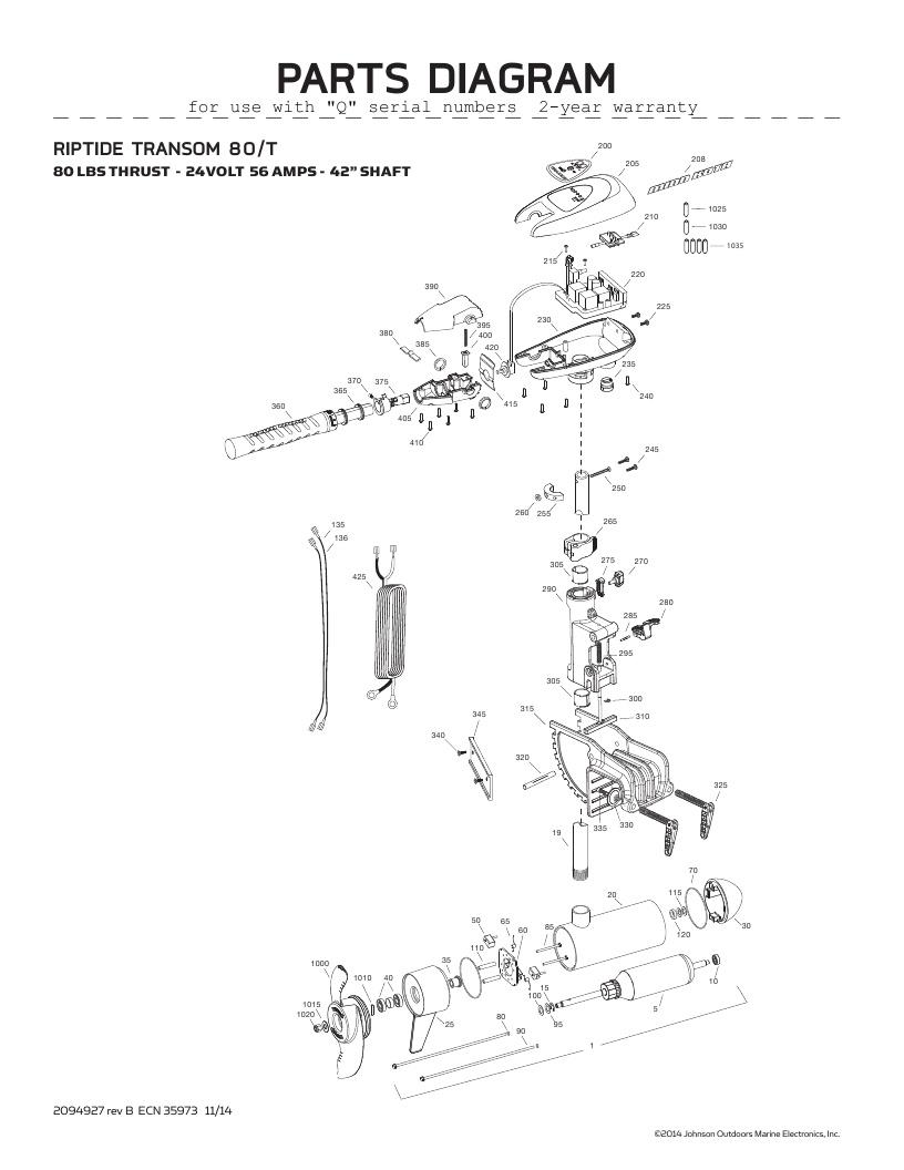 Minn Kota Riptide Transom 80 Parts-2016
