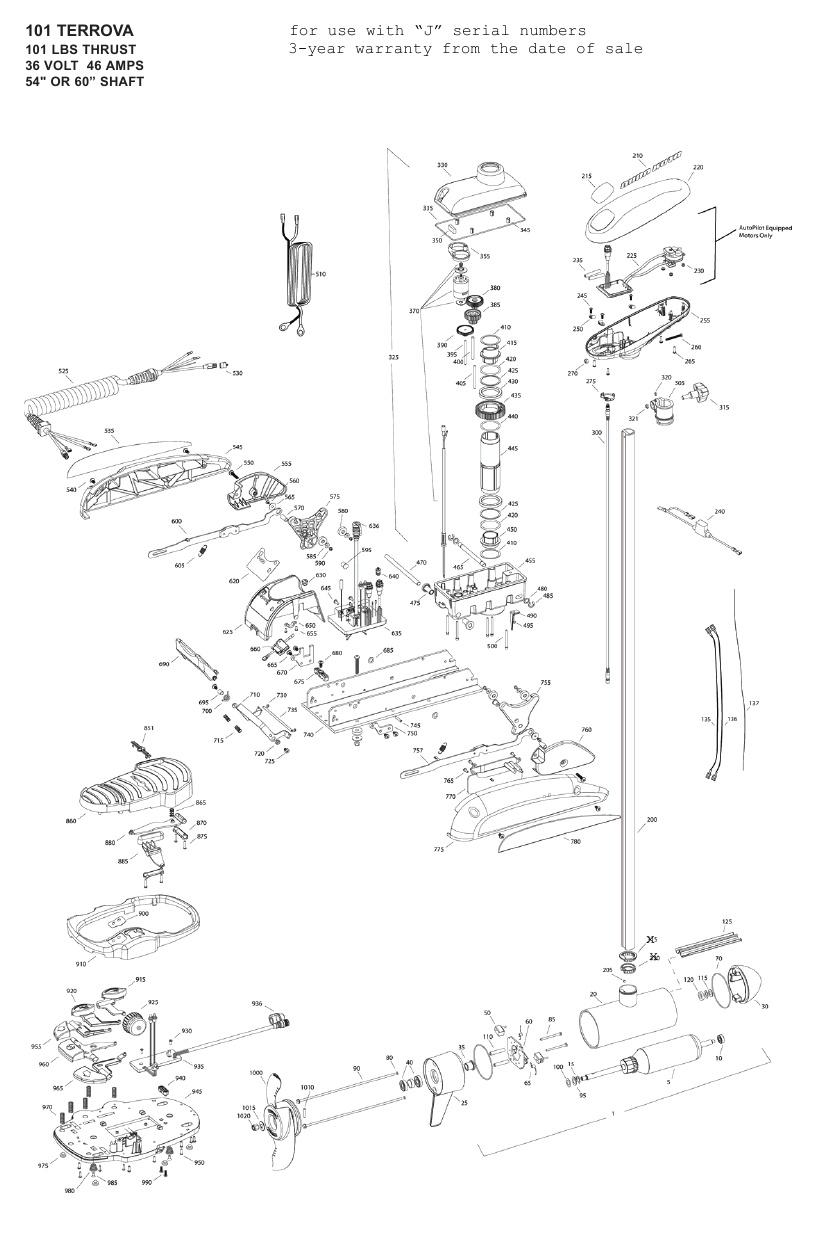 Minn Kota Terrova 101 Parts - 2009