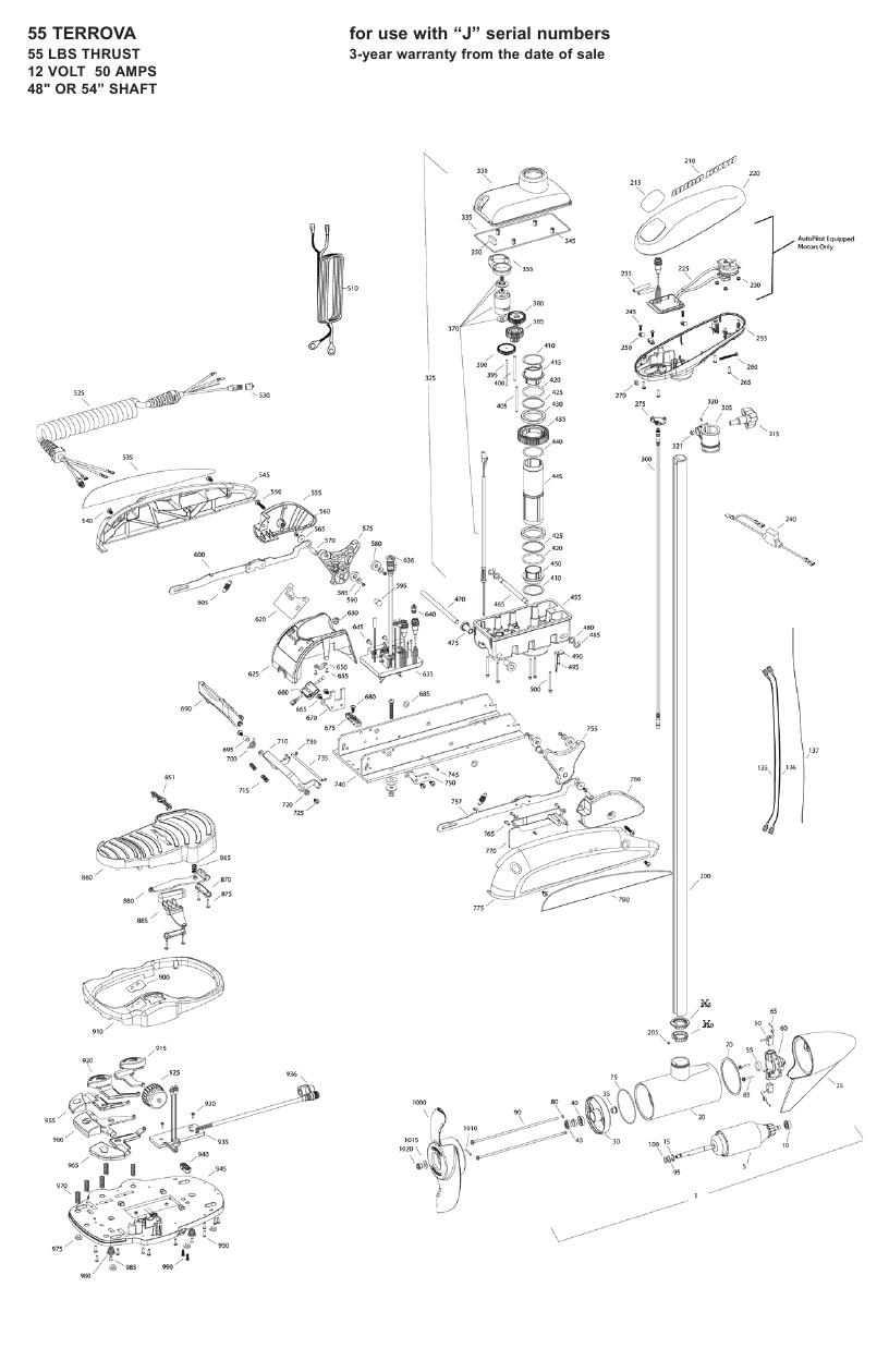 Minn Kota Terrova 55 Parts - 2009