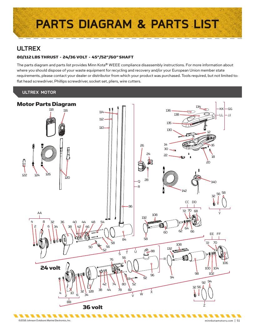 Minn Kota Ultrex Parts-2017