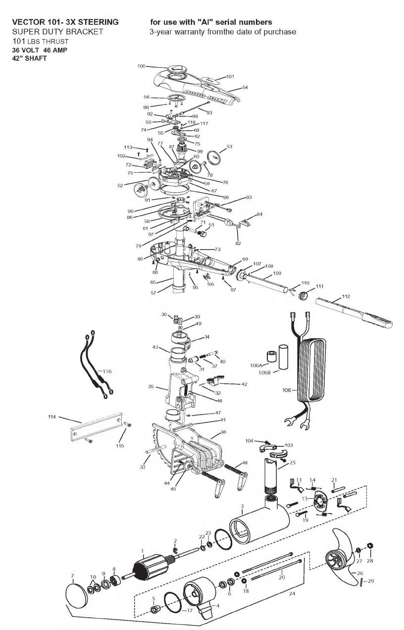 Minn Kota Vector 101 3X Parts - 2008