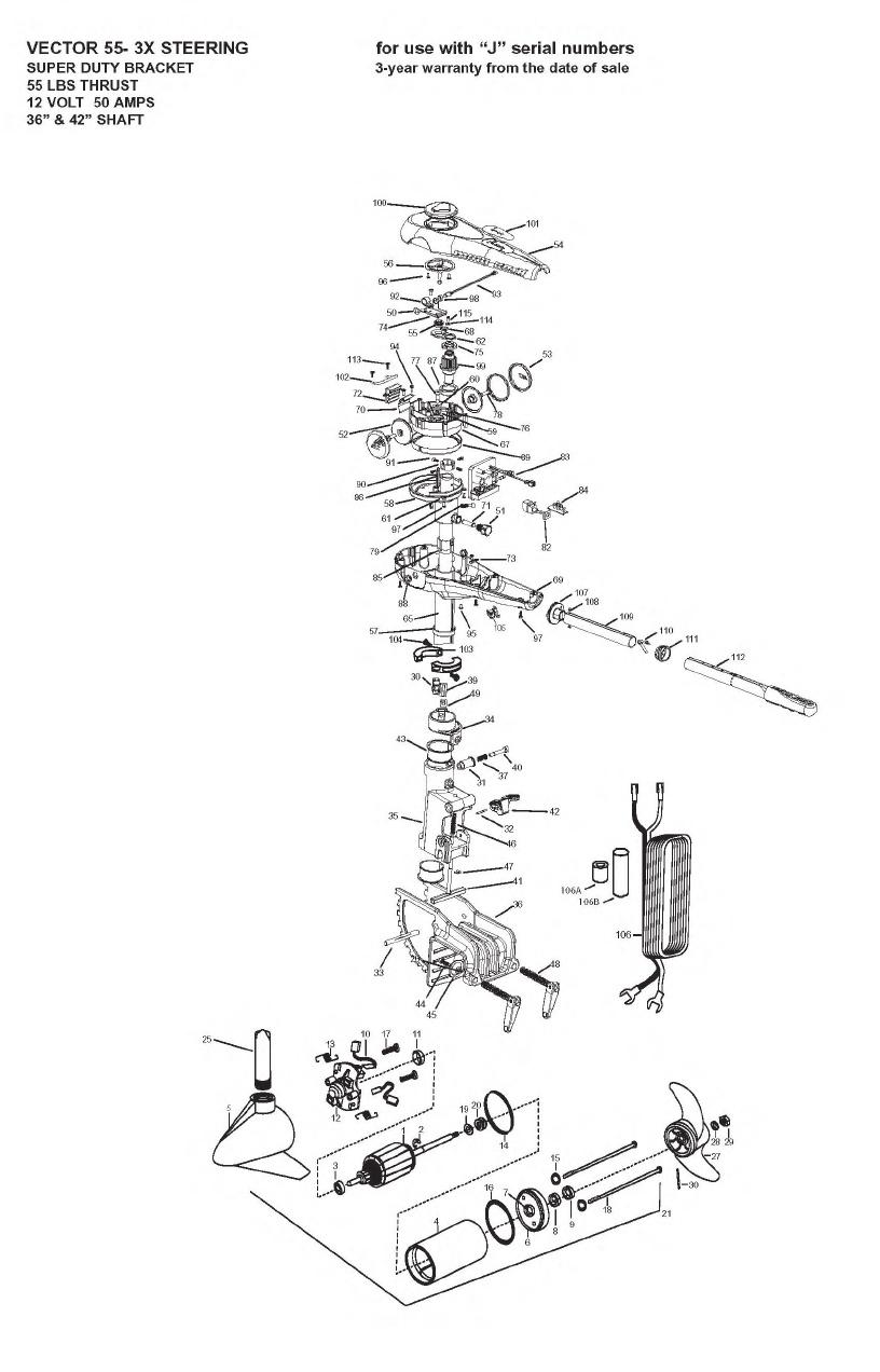 Minn Kota Vector 55 3X Parts - 2009