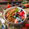 Low fat Greek yogurt with Organic Berries and Honey Granola.