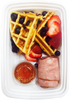 Protein Waffles Breakfast w/ Uncured Turkey Bacon and Organic Fruits