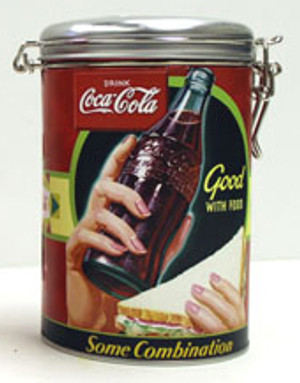 Coca-Cola Good With Food Round Locktop Tin