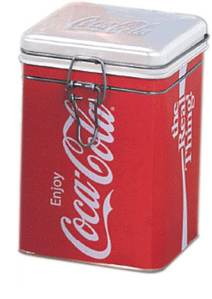 Coca-Cola Veritcal Logo Square Locktop Tin