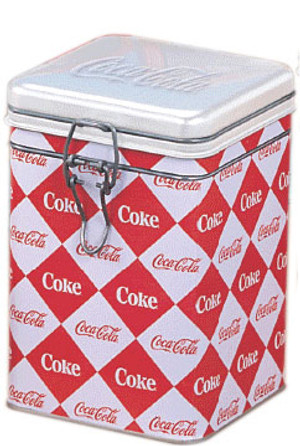 Coca-Cola Diamond Patterned Logo Square Locktop Tin