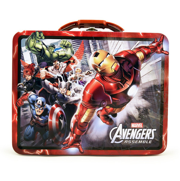 Avengers Red Embossed Carry All Tin Lunch Box