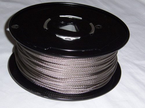 """316 Stainless Steel Wire Rope, 3/16"""", 7x7, 500 ft reel"""