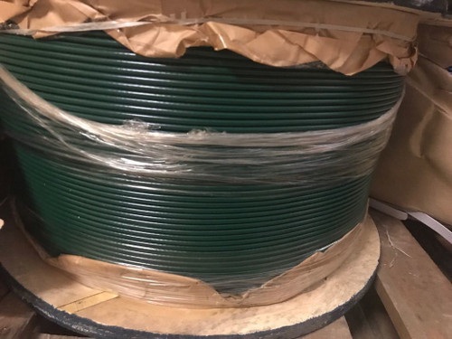 """GREEN Vinyl Coated Cable, 1/8""""-3/16"""", 7x7, 500 ft reel."""