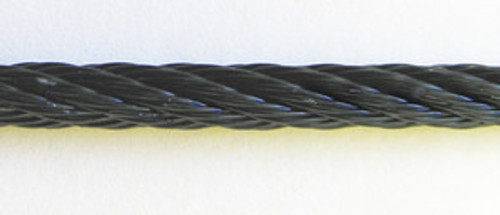 """Black Powder Coated Galvanized Cable 1/16"""", 7x7, 250 ft reel"""