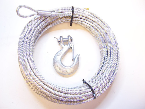 """Galvanized Winch Cable, 1/4"""" X 100 ft + 5/16"""" Clevis Hook"""