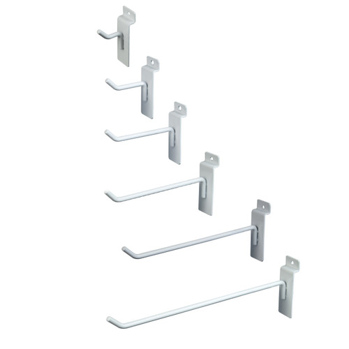 "Slatwall, Slatgrid, Slat Wall Panel Hooks in various sizes. 1"", 2"", 4"", 6"", 8"", 10"" & 12"" are available."