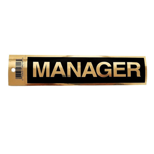 "2"" X 9"" Black Self Adhesive ""MANAGER"" Sign"