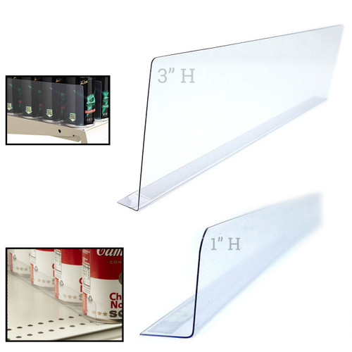 "12"" L Clear Self Adhesive Plastic Shelf Divider"