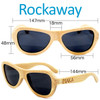 Rockaway Butterfly Natural Bamboo Wood Sunglasses Dimensions Size