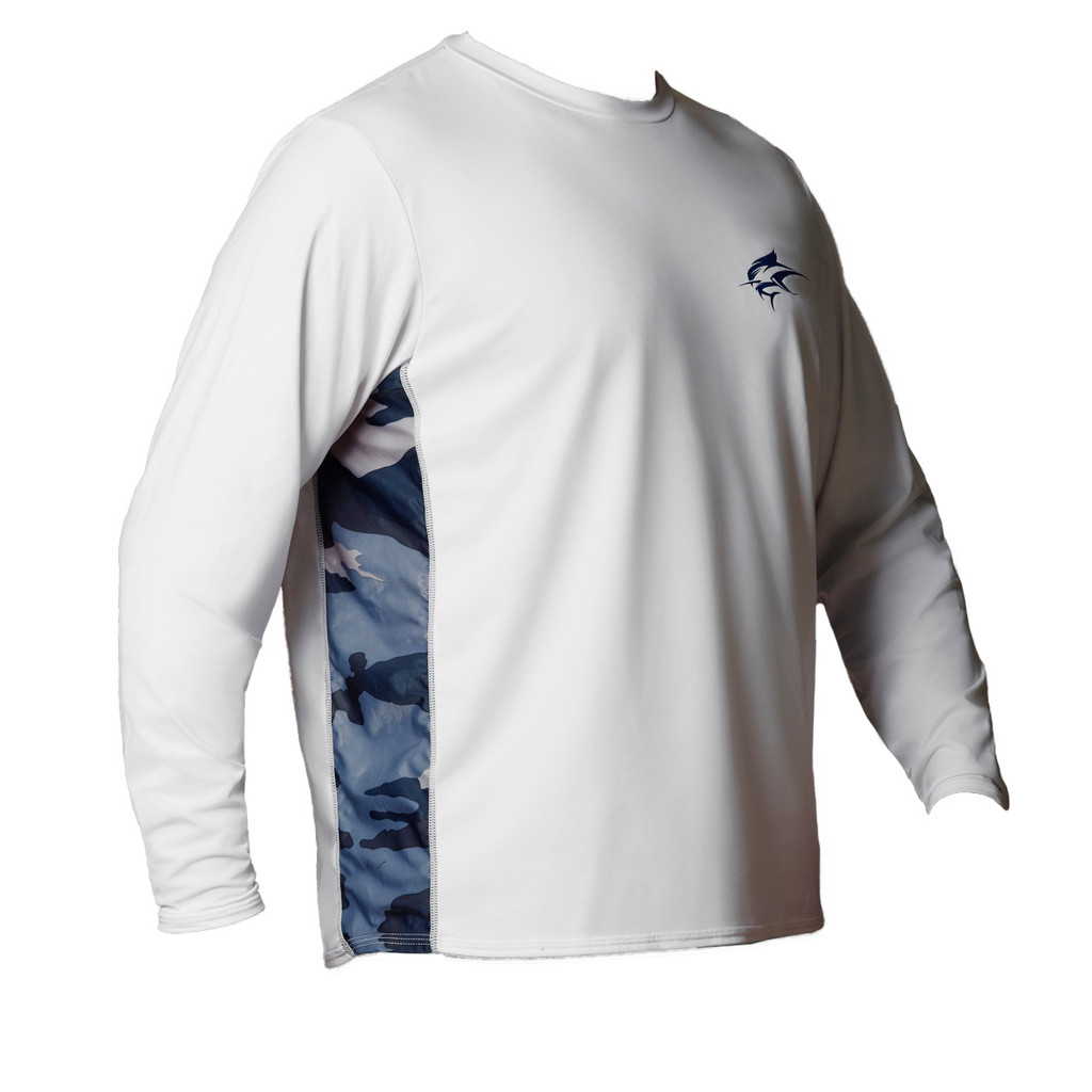 Ocean Rider Sun Protective Clothing | Men's Performance UPF 50 Side Vented Shirt | White/Camo | Front | Made in USA