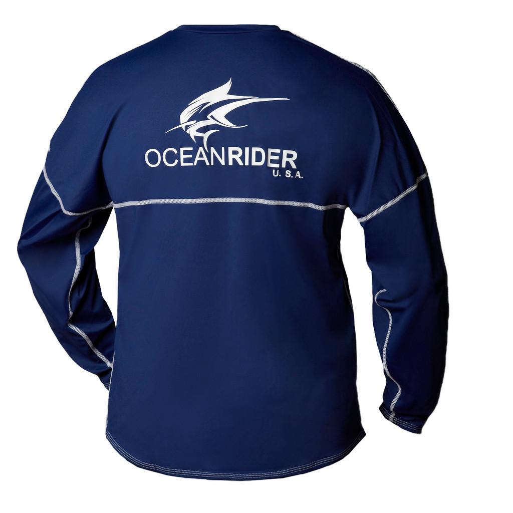 Ocean Rider Sun Protective Clothing | Men's Performance UPF 50 Long Sleeve Jersey | Navy | Back