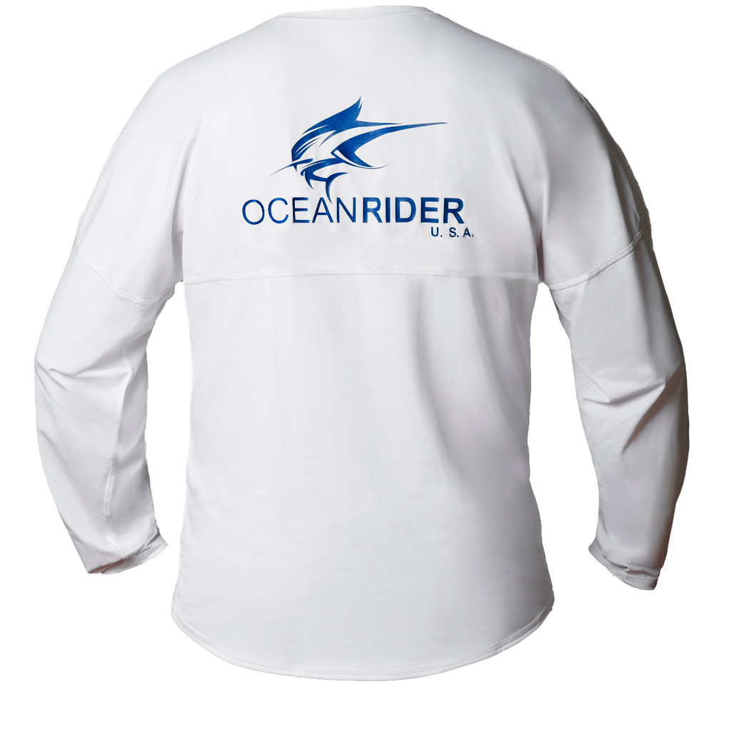 Ocean Rider Sun Protective Clothing | Men's Performance UPF 50 Long Sleeve Jersey | White | Back