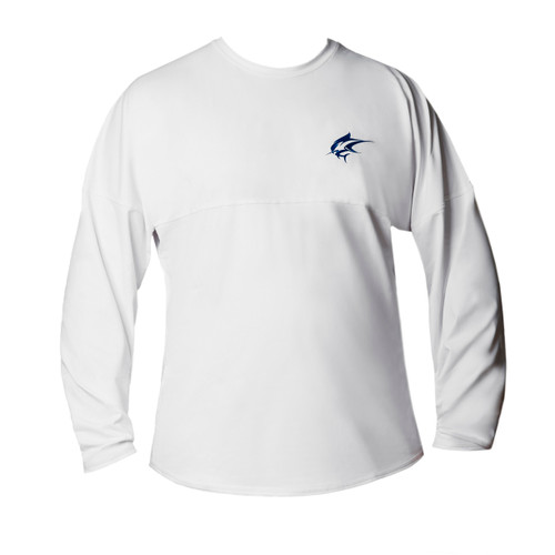 Ocean Rider Sun Protective Clothing | Men's Performance UPF 50 Long Sleeve Jersey | White | Front