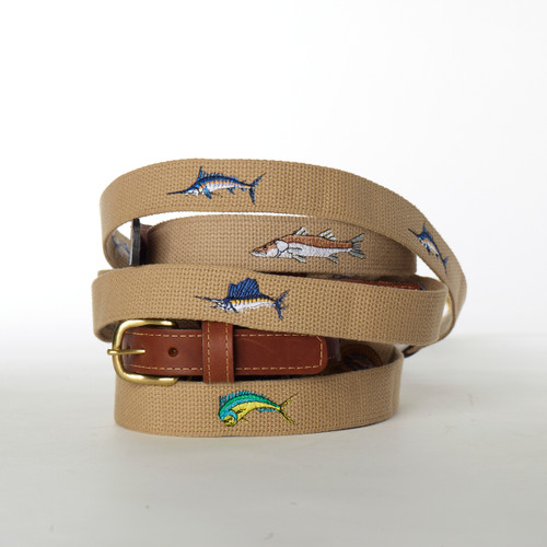 Ocean Rider Handmade Embroidered Webbing Belts with Fish Design