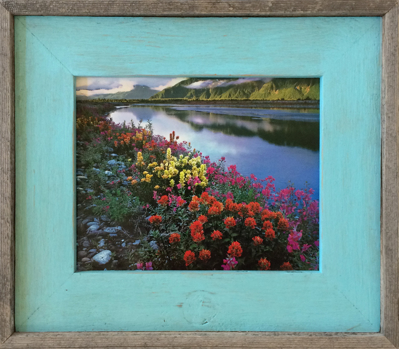 Barnwood Frame with Robin\'s Egg Blue Wash, 11x14