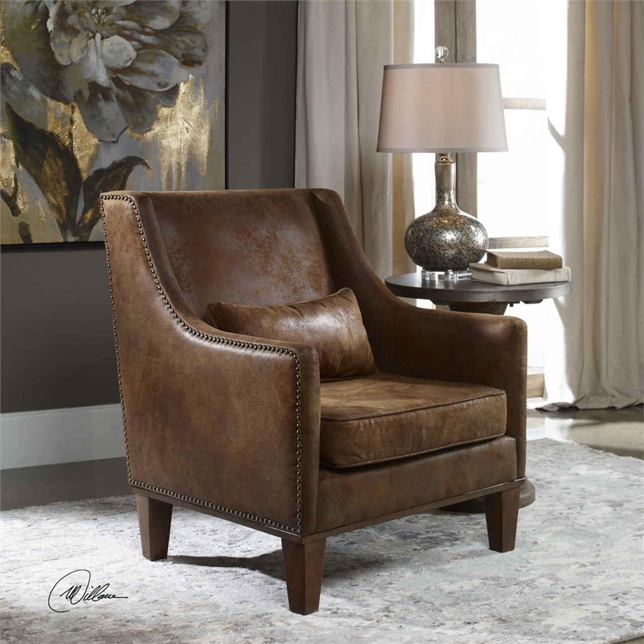 Delicieux Uttermost Clay Leather Armchair