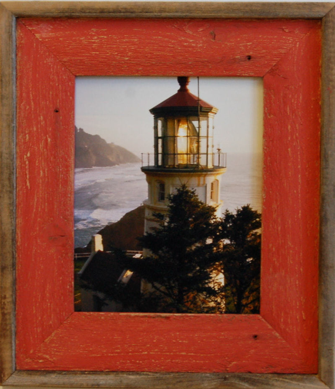 Barnwood Picture Frame with Red Wash, 11x14 Rustic Wood Frame