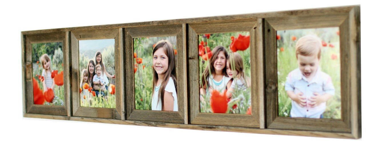 Rustic Collage Picture Frame | 5x7 Barnwood Multi Opening