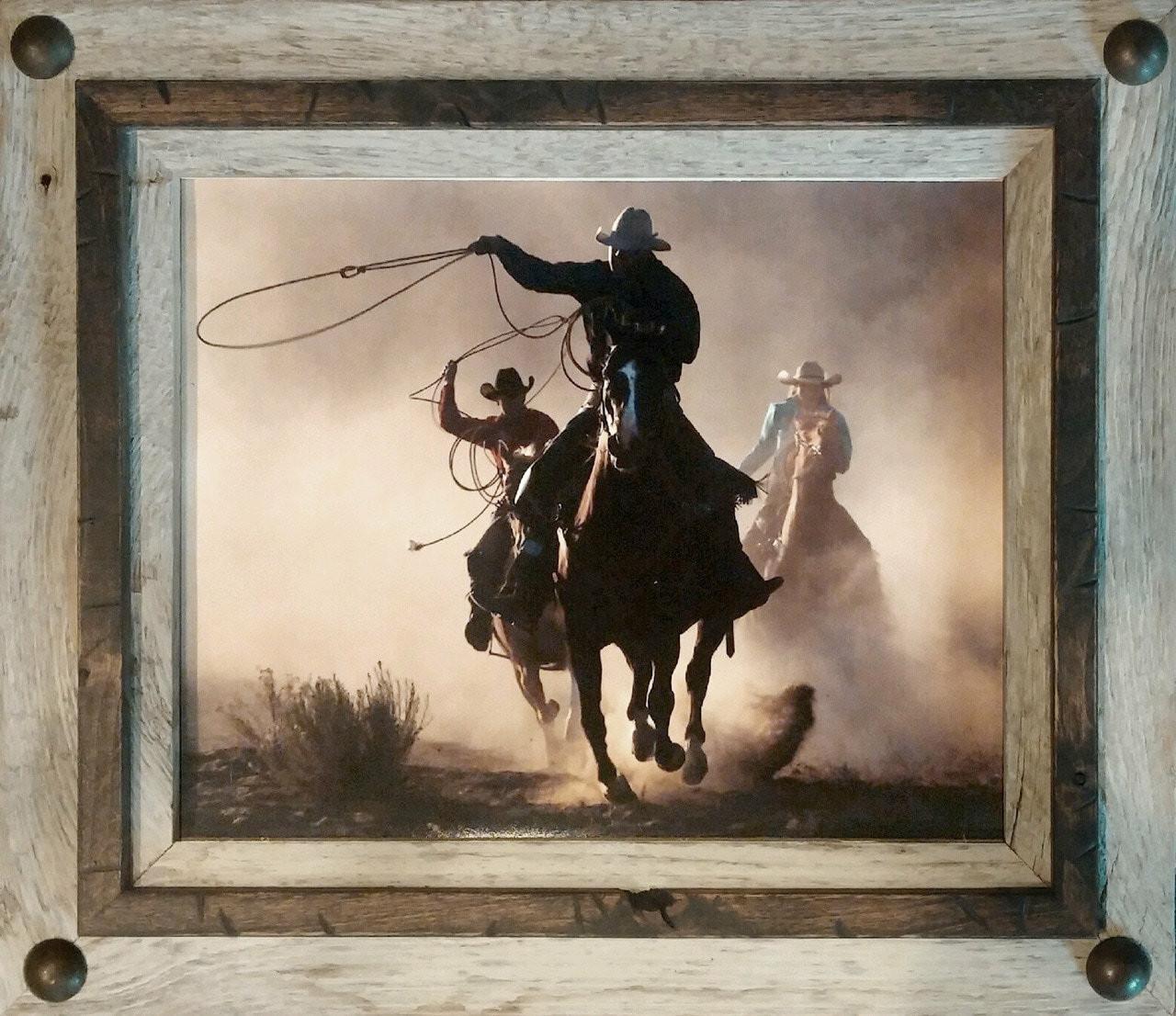 Rustic Frames | Reclaimed Barnwood Frame with Large Metal Tacks 8x10