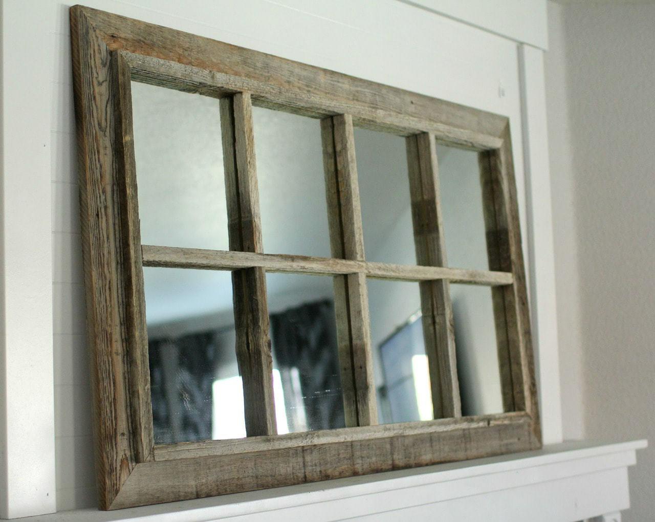 Rustic Window Mirror 8 Pane Barnwood Mirror Free