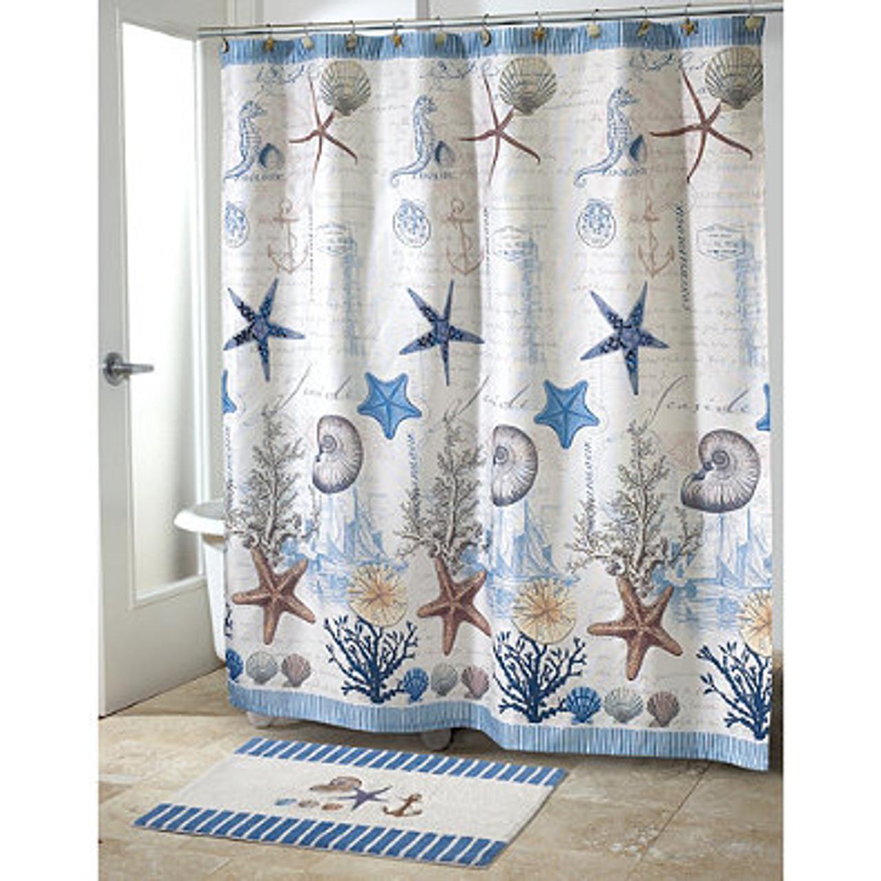 Beach Shower Curtain Antigua Ocean Themed Bath Accessories