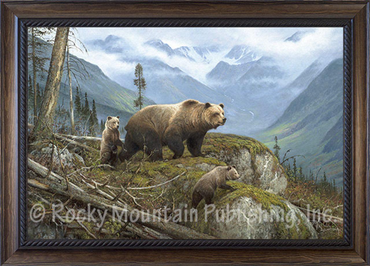 Griz Country   Hayden Lambson Framed Giclee   Mother Grizzly and two ...