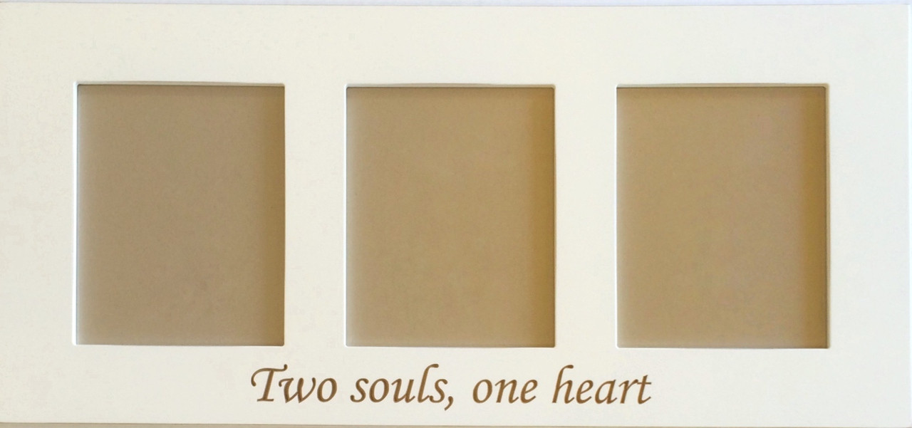 Two Souls - One Heart - Engraved Collage Frame, White