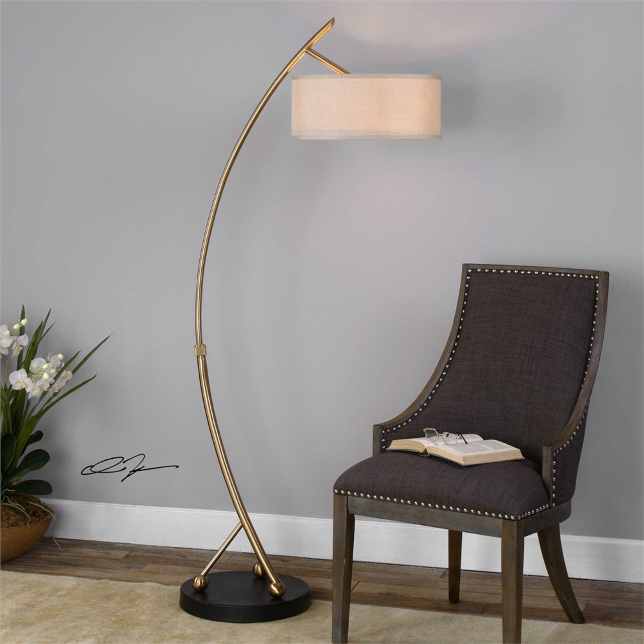 uttermost vardar curved brass floor lamp. Black Bedroom Furniture Sets. Home Design Ideas