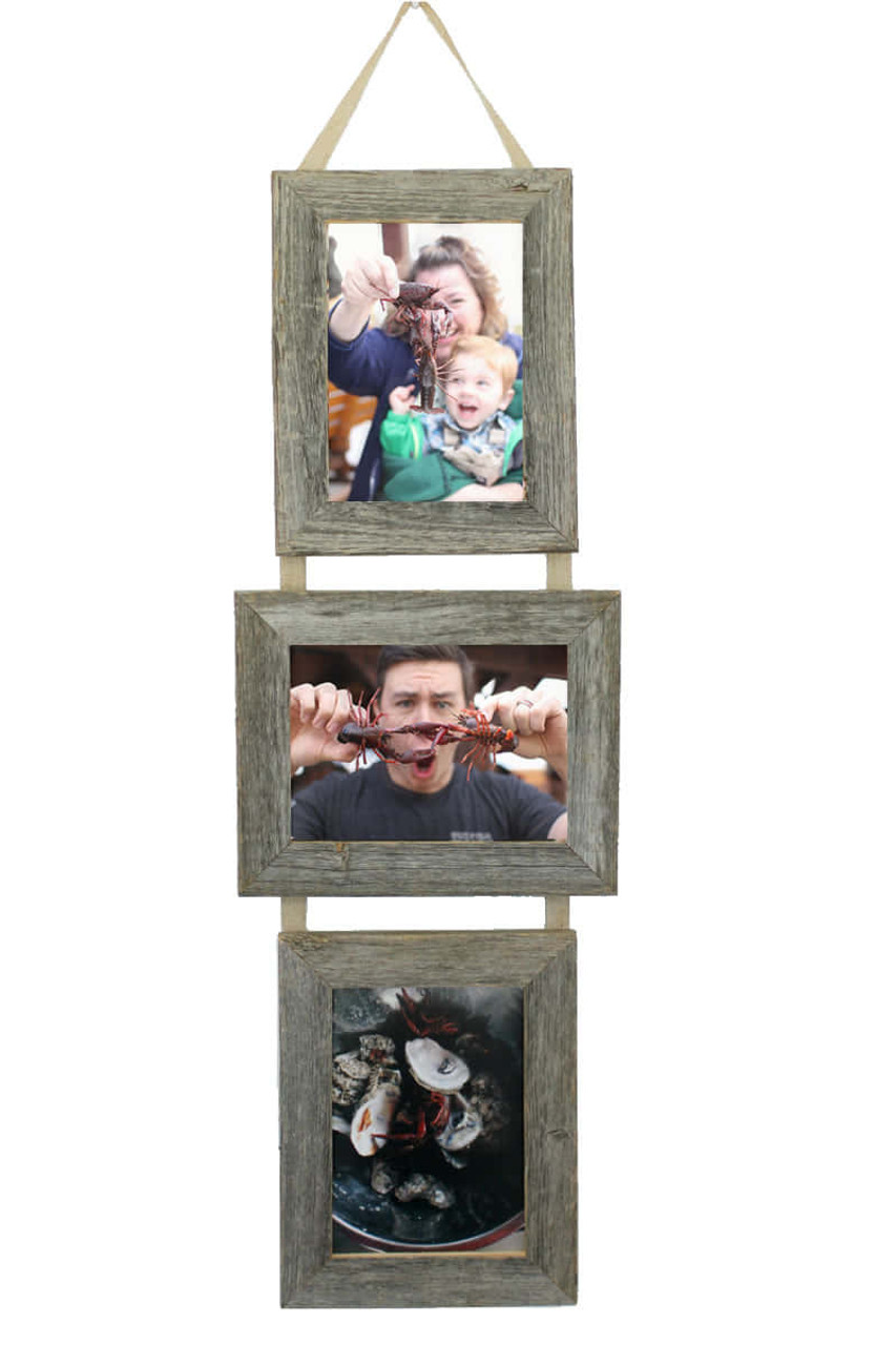 5X7 Three Barnwood Hanging Collage Frame Set | Multi Photo Frame
