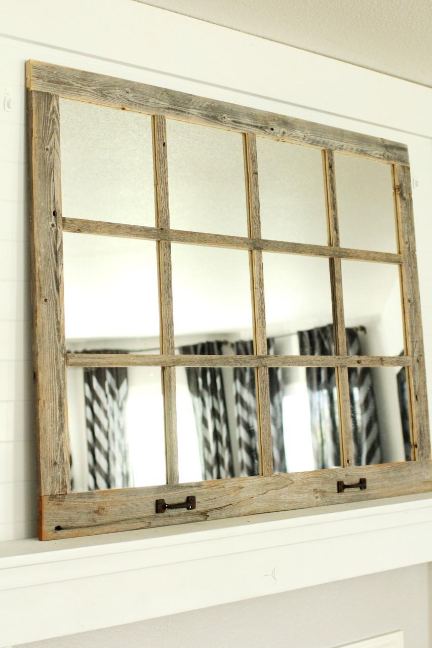 Farmhouse Mirror 12 Window Pane Barnwood